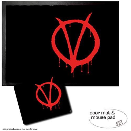 1art1 V De Vendetta, Vendetta Felpudo Alfombra (70x50 cm) + Alfombrilla para Ratón (23x19 cm) Set Regalo
