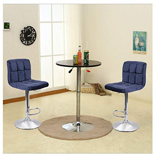 JinJin 2pcs Best Office Bar stools Height Adjustable Flannel Swivel Back Kitchen Counter Stools Bar Dining Velvet Chairs Set of 2 Height Swivel Stool Plating Foot (navy)