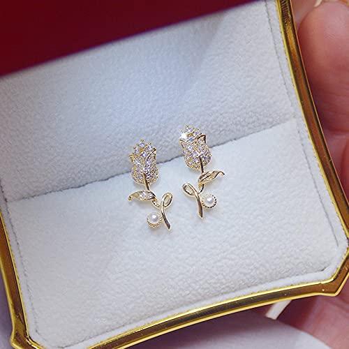 SALAN Exquisito Cz Rosa Flor Mujer Pendiente Brillo AAA Circón 14 K Oro Real Bohemia Pendiente Regalo De Cumpleaños De Boda