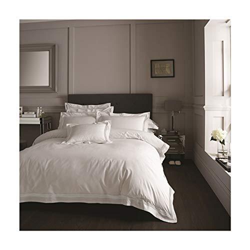 FAIRWAYUK HOTEL Collection Duvet Set Embroidered Quilt Cover Pillow Case Bedding (White, King Duvet Set)