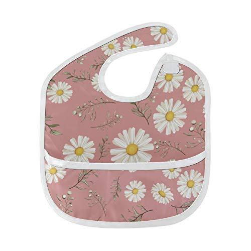 N\A Bavoirs pour bébé pour filles Art Rose Daisy Bavoir de peinture à l'aquarelle pour garçons Tache douce Bébé nourrissant Dribble Drool Bavoirs Burp pour bébé 6-24 mois