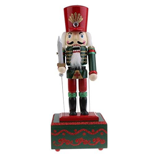 Toygogo 32cm Holz Nussknacker Spieluhr Spieluhr Spieluhr Uhrwerk Spielzeug Weihnachtsdekoration - Soldat
