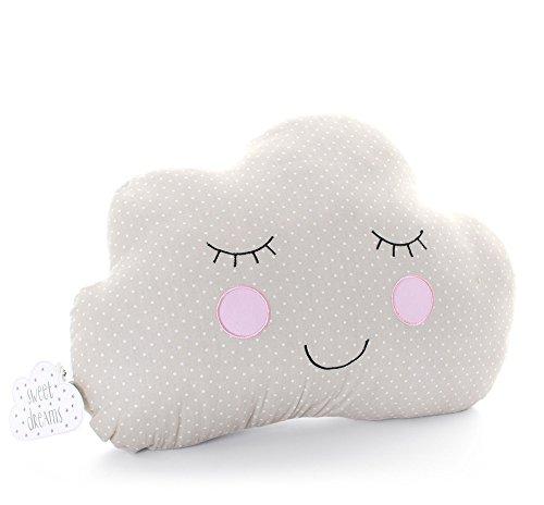 Sweet Dreams Coussin en forme de nuage souriant Beige