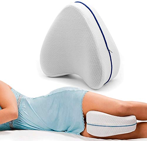 MovilCom® Almohada Ortopédica para Pierna y Rodilla | Espuma con Memoria | Almohada piernas Dormir Alivia el Dolor de Espalda Cadera y Articulaciones | Cojin Embarazada | Almohada para Dormir de Lado