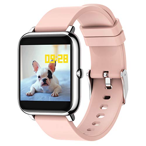 RK-HYTQWR P22 Reloj Inteligente Hombres Mujeres Reloj Deportivo Rastreador de Ejercicios Monitor de frecuencia cardíaca, Pulsera Inteligente Rosa, Rosa
