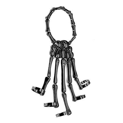 Men Women's Halloween Skull Skeleton Hand Bracelet With Ring (Black)