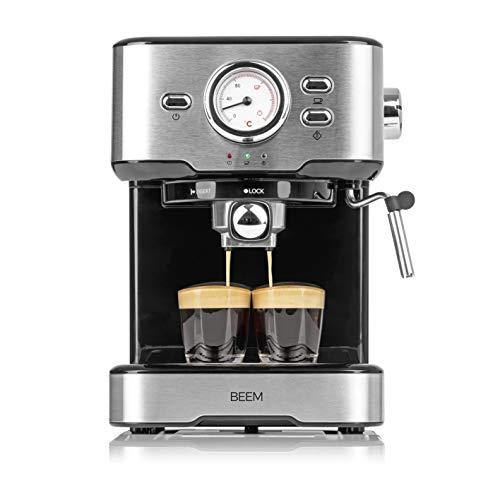 BEEM ESPRESSO-SELECT Espresso-Siebträgermaschine - 15 bar | Espresso, Cappuccino,Latte Macchiato | Espressomaschine | Siebträger | Edelstahl gebürstet