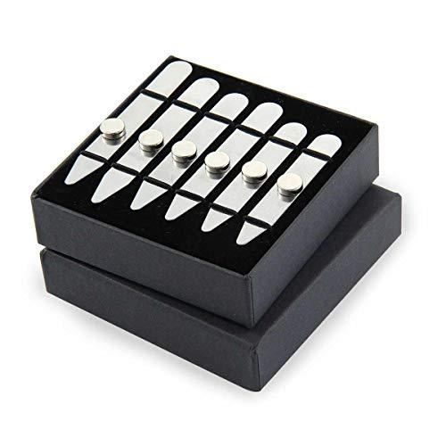 AOLVO, 6 stecche per colletto della camicia in acciaio inox, con 6 calamite, per uomo, 3 misure in confezione regalo (5,6 cm/6,35 cm/7 cm)