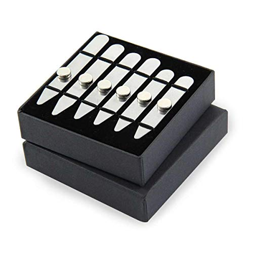 AOLVO Magnet-Kragenstäbchen aus Edelstahl mit 6 Magneten, strapazierfähige Metall-Kragenstäbchen für Herren, 3 Größen in Geschenkbox (6,4 cm/7 cm/7,6 cm), silber