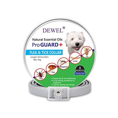DEWEL Collar Antiparasitario Perros Contra Pulgas,Garrapatas y Mosquitos Impermeable,Ajustable 63cm