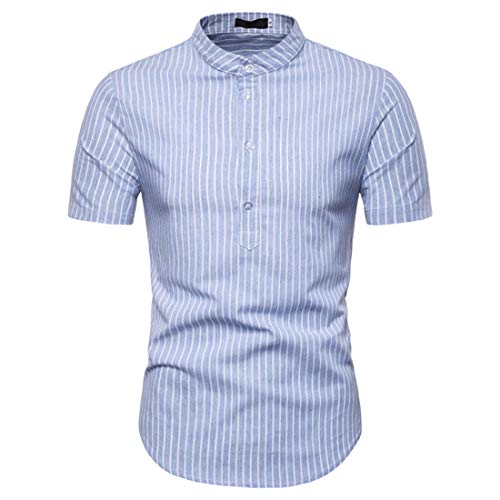Shirt Casual Hombre Verano A Rayas/A Cuadros Shirt Hombre Manga Corta Botones Cuello Alto Hombre Camisa Slim Fit Moda Negocios Hombres Shirt Sin Cuello D-Blue2 XXL