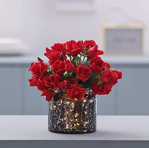 LLSTRIVE Kunstroos met vaas, kunstbloem, nepbloem, tafelbloem, huismeubels, verjaardagscadeau, rood