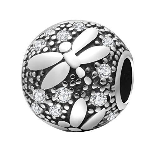 Charm a forma di libellula in argento Sterling 925, per braccialetti Pandora