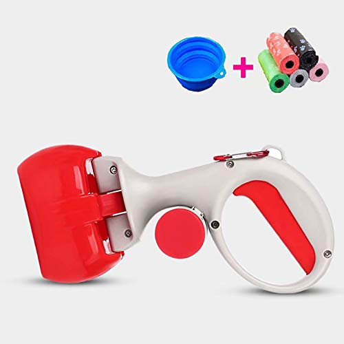 Doyime Poop Clamp Scoop with 10 Rolls Poop Bag Pet Dog Pooper Scooper Top Paw Maws Pooper Scooper Set for Dogs Valuable Package for Pick Up Pets Waste Red 25.5x12.5cm