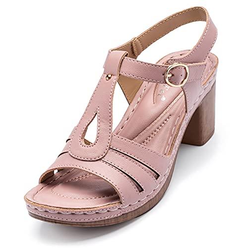 QQWD Sandalias Mujer Verano, Piel Sintética Suave Peep Toe Velcro Zapatos Mujer...