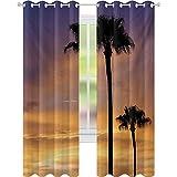 PalmTrees - Cortinas con aislamiento térmico, diseño de crepúsculo en el ambiente tropical, impresión de belleza natural al atardecer, 52 x 95 con bloqueo de luz para guardería, color amarillo y negro