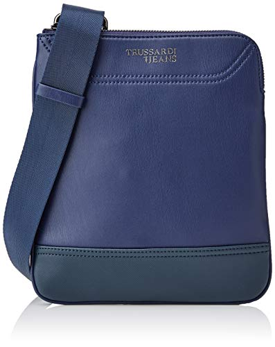 Trussardi Jeans Mannen Business Affair Flat Cross Body schoudertas, blauw, 19x24x1,5 centimeter