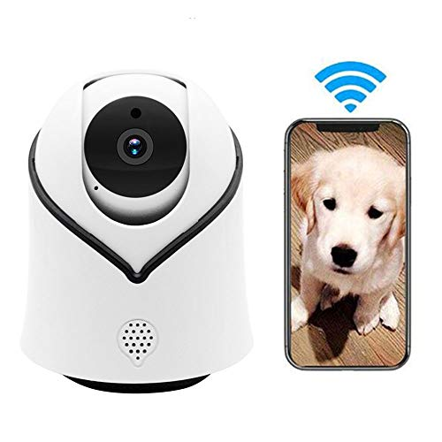 LEEFISH 1080P HD Huisdier Camera, Wifi Hond Monitor, Ip Camera, Indoor voor Baby/Hond/Cat met Bewegingsdetectie Infrarood Nachtzicht Ptz Rotatie Monitoring Tweewegs Audio
