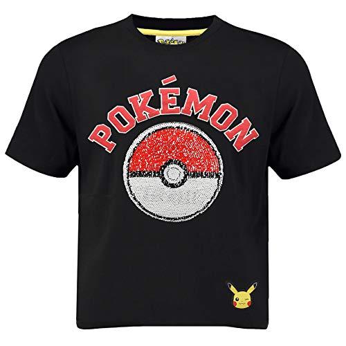 Pokémon Maglietta A Maniche Corta per Ragazzi Paillettes Bidirezionale sul Davanti | T-Shirt Nero 100% Cotone con Motivo Poké Ball & Pikachu | Maglietta Ufficiale