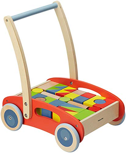 Pidoko Kids Block and Roll Cart - Wooden Push and Pull Toy Activity Baby Walker, Red - Toddler Learning Toys for 1 Year Old, with Blocks (33 Pcs)