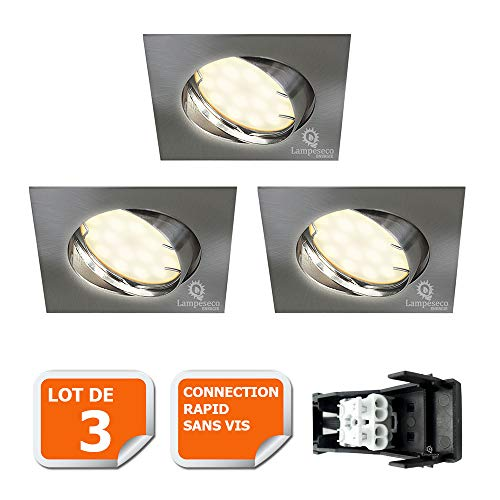 LOT DE 3 SPOT ENCASTRABLE ORIENTABLE LED CARRE ALU BROSSE GU10 230V eq. 50W BLANC CHAUD