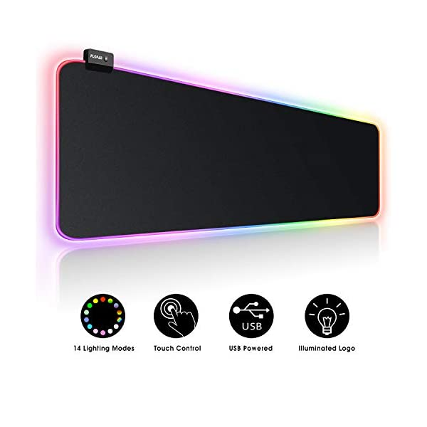 Large RGB Gaming Mouse Pad – 14 Light Modes Extended Computer Keyboard Mat with Durable Stitched Edges and Non-Slip Rubber Base, High-Performance Mouse Pad Optimized for Gamer 31.5X 11.8in