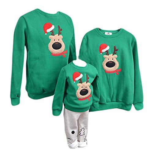 Felpe Natale Famiglia Maglioni Natalizi Pullover Natalizio Girocollo Uomo Donna Bambina Bambini Renna/Cervo Stampa Maglione Natalizia Invernali Maglie Natalizie/160