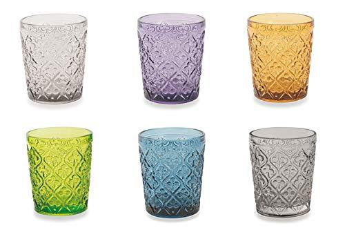 Villa d'Este Home Tivoli 5905223 Marrakech Set 6 Bicchieri Acqua Multicolor, Vetro