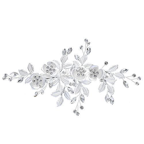 ROBERT Hochzeit Haarspange,braut haarschmuck silber, Hochzeit Haar Kämme für Braut und Brautjungfern (silber)