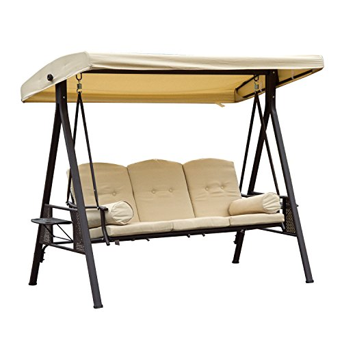 Outsunny Steel Swing Chair Hammock Garden 3 Seater Canopy w/Cushions Shelter Outdoor Bench Beige