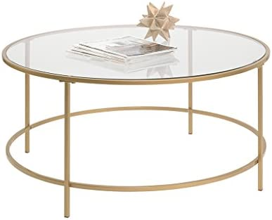 Best Sauder 417830 Int Lux Coffee Table Round, Glass / Gold Finish