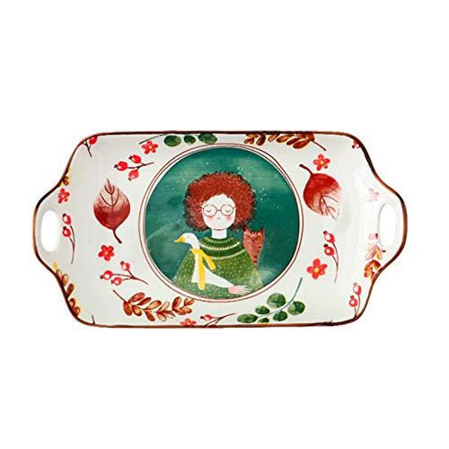 Chica pelirroja para hornear plato con manijas, cacerola de cerámica grande de cerámica antiadherente para amantes de la cocina, Au Gratin Sartenes, cacerola para hornear para la cena de pastel, banqu