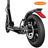 LXLA - Folding Adult Kick Scooter with Disc Handbrake, Big Wheels Dual Suspension