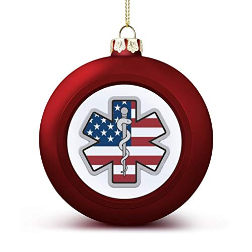 MCFTGHD American Flag EMS Star of Life EMT Paramedic Medic(5) Christmas Ball Ornament 1.6inch/4cm for Christmas Tree, Party and Holiday Decoration