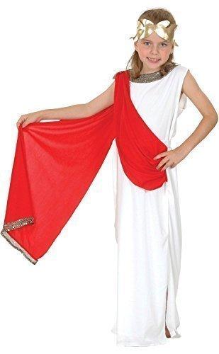Fancy Me Ragazze o Ragazzi Bianco Rosso Toga Romana Scuola Costume Travestimento 4-14 Anni - Ragazze, 7-9 Years