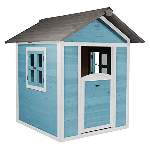 AXI Spielhaus Beach Lodge in Blau   Kleines Spielhaus aus FFC Holz für Kinder   135 x 111 x 133 cm