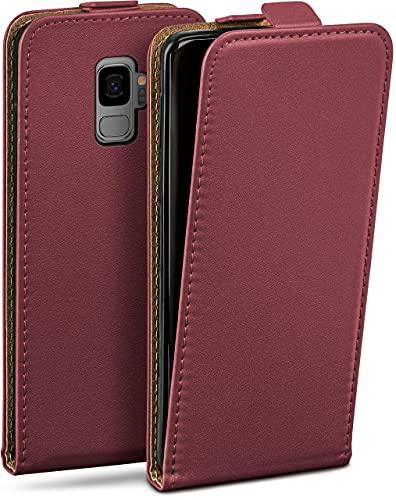 moex Flip Hülle für Samsung Galaxy S9 Hülle klappbar, 360 Grad R&um Komplett-Schutz, Klapphülle aus Vegan Leder, Handytasche mit vertikaler Klappe, magnetisch - Weinrot