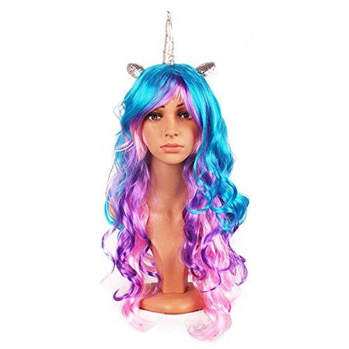 Perruques Licorne Bande de cheveux avec Oreilles et Corne en Latex de Cosplay pour la fête d'anniversaire fantaisie (argent)