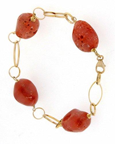 Viganò, Bracciale con catena in oro e perle di corallo irregolari