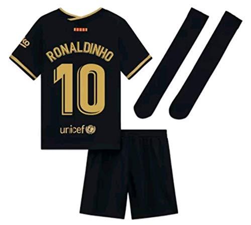 Kids/Youths Sportswear 2020/2021 Season Away Soccer T-Shirts Jersey/Short/Socks (Barcelona Ronaldinho #10(5-6years/size20)) Black