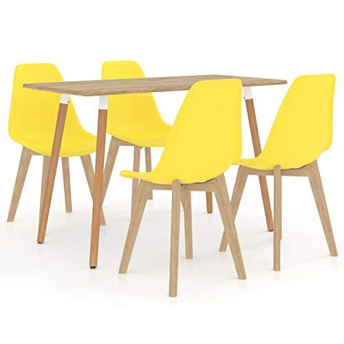 Tidyard Conjunto de Mesa sillas,Mesa Salón y Sillas,Muebles de Jardin Exterior Conjuntos Juego de Comedor 5 Piezas 11# Amarillo