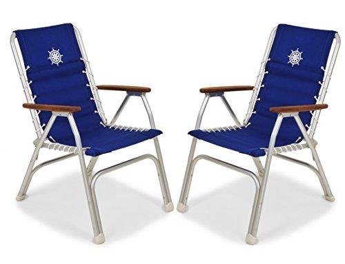 FORMA Marine Set of 2 High Back Deck Chairs, Boat Chairs, Folding, Anodized, Aluminium, Blue, Model M150B