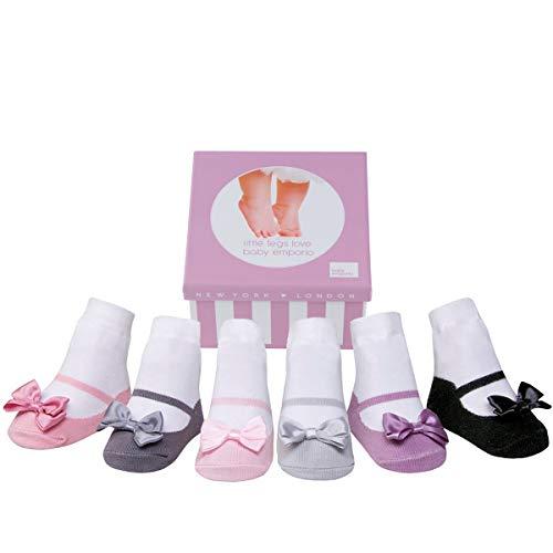 Baby Emporio 6 pares de calcetines para bebé niña - Suelas antideslizantes - Algodón suave - Paquete de regalo - Efecto zapatillas