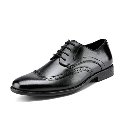 Bruno MARC DP08 Men's Formal Modern Leather Wing Tip Loafers Lace Up Classic Lined Oxford Dress Shoes BLACK SIZE 9