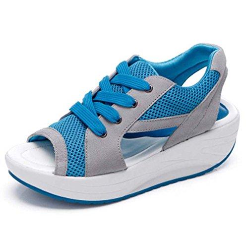 Solshine Damen Netz Atmungsaktiv Sandalen Turnschuhe Laufschuhe Offene Zehen Sneakers 39 EU / 5 UK / 7 US blau