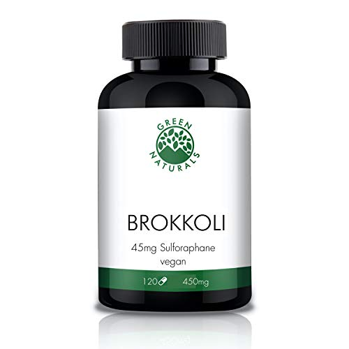 Broccoli (120 Capsules á 450mg) with 10% sulforaphane - German Production - 100% Vegan and Without additives - 4 Month Stock