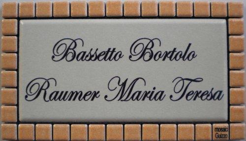 Mosaici Guizzo Targhetta in Ceramica incisa+Cornice_Colori Bianco e Arancione