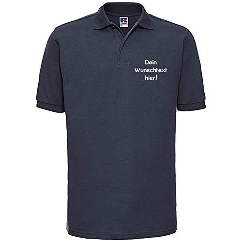 Shirt-Panda Herren Polo Shirt mit Wunschtext Wunschname · Linke Brust und oder Rücken Druck Men Personalisiert Personalisierbar Sprüche Hemd Anpassen Wunsch Dunkelblau M
