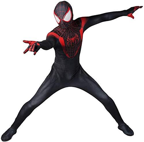 Spinnenkostüm in den Vers Miles Morales Superheldenfilm Halloween-Kostüme für Erwachsene Kinder Anime Cosplay Jungen Schwarzer Spinnenanzug Lycra Zentai Anzug-Adult M