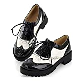 MIOKE Women's Two Tone Flat Oxfords Shoes Lace Up Wingtip Perforated Low Heel Vintage Saddle Oxford Brogues Black/White